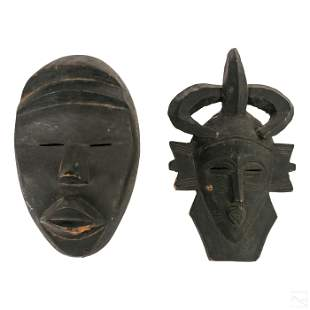 African Dan Tribal Carved Decorative Wooden Masks