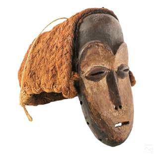 African Antique Tribal Carved Wood and Woven Mask