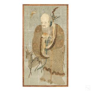 Chinese Old Man of the South Pole Silk Embroidery
