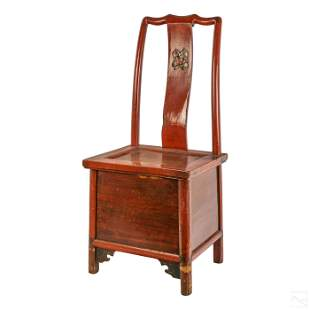Chinese Antique Red Lacquered Foot Binding Chair