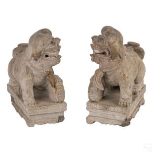 Chinese Carved Gray Pottery Foo Dog Sculpture Pair