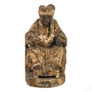 Chinese Antique Wood Emperor Mandarin Sculpture