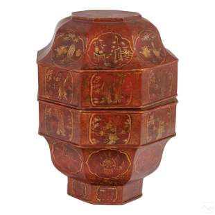 """Chinese Red Lacquered Gilt Wood 14"""" Sweet Meat Box"""