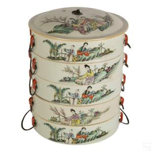 Chinese Old Porcelain 5 Tier Covered Tea Canister
