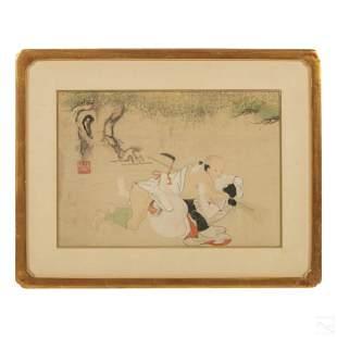 Japanese Antique Erotic Shunga Watercolor Painting