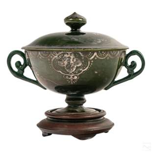 Japanese Ceramic Silver Dragon Overlay Lidded Cup