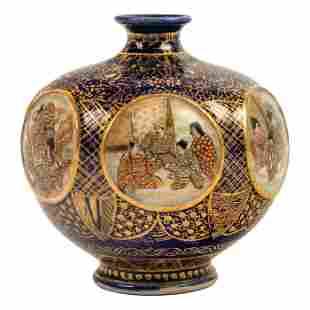 Japanese Antique Satsuma Gilt Cobalt Portrait Vase
