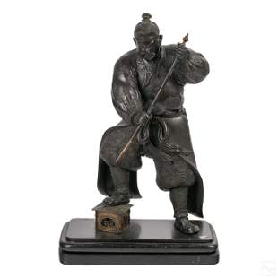Japanese Antique Bronze Samurai Figurine Sculpture