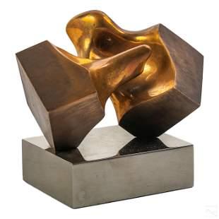 """Mid Century Modern Bronze Chrome """"Kiss"""" Sculpture"""