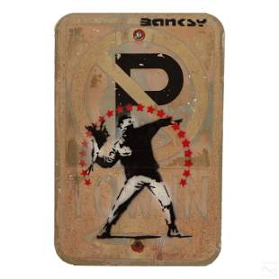 Banksy Style Parking Sign Urban Graffiti Painting