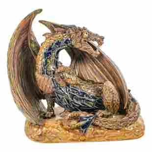 "Andrew Hull Pottery 11"" Grotesque Dragon Sculpture"