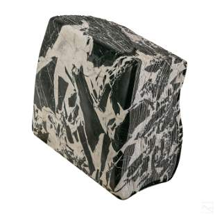 Modern Grayscale Carved Marble Book Tome Sculpture