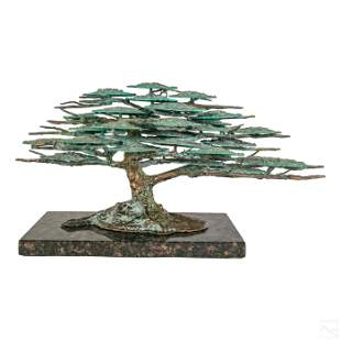 "Modern 28"" Bronze Brutalist Bonsai Tree Sculpture"