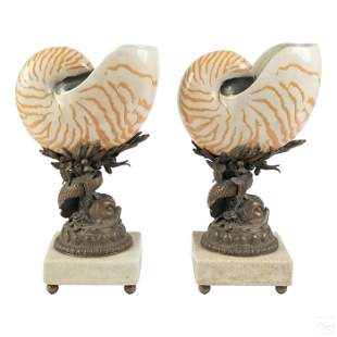 Castilian Bronze Nautilus Garniture Set Sculptures