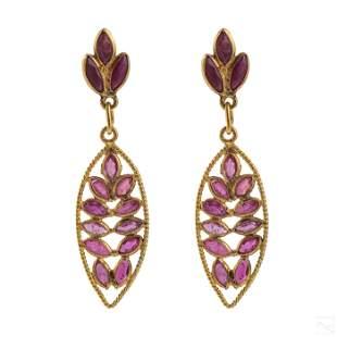 18K Gold and Ruby Ladies Dangle Drop Post Earrings