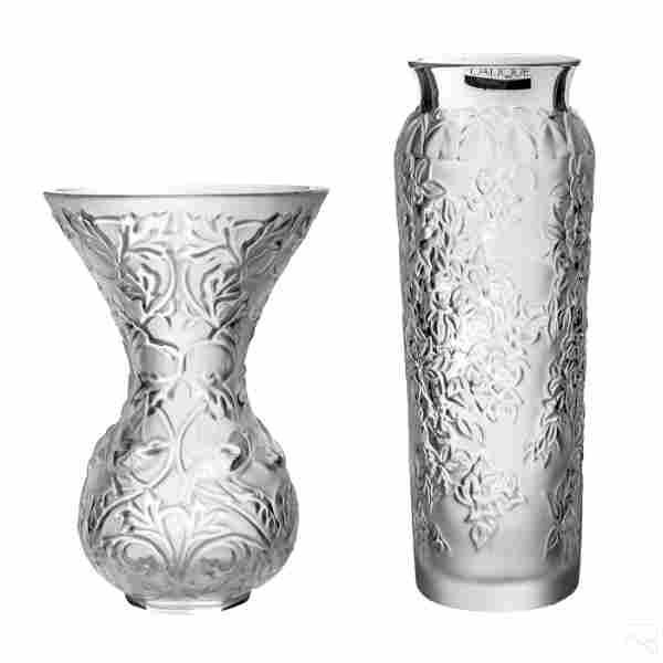 Lalique French Frosted Crystal VTG Floral Vases