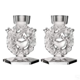 """Lalique """"Mesanges"""" Frosted Crystal 6"""" Candlesticks"""