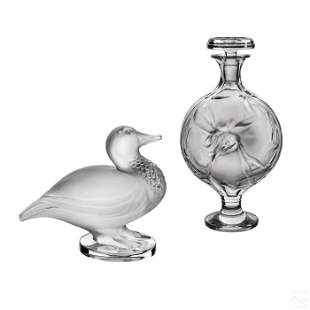 Lalique French Art Glass Crystal Figures & Bottle