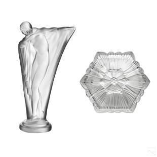 Lalique Crystal Box and Cristal de Sevres Figurine