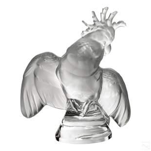 Lalique French Crystal Ara Cockatoo Bird Figurine