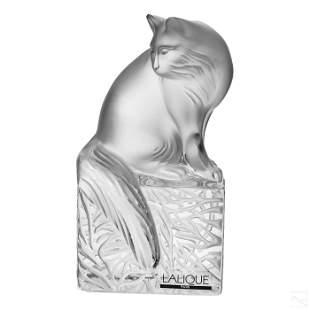 Lalique Crystal Cat On Pedestal Book End Figurine