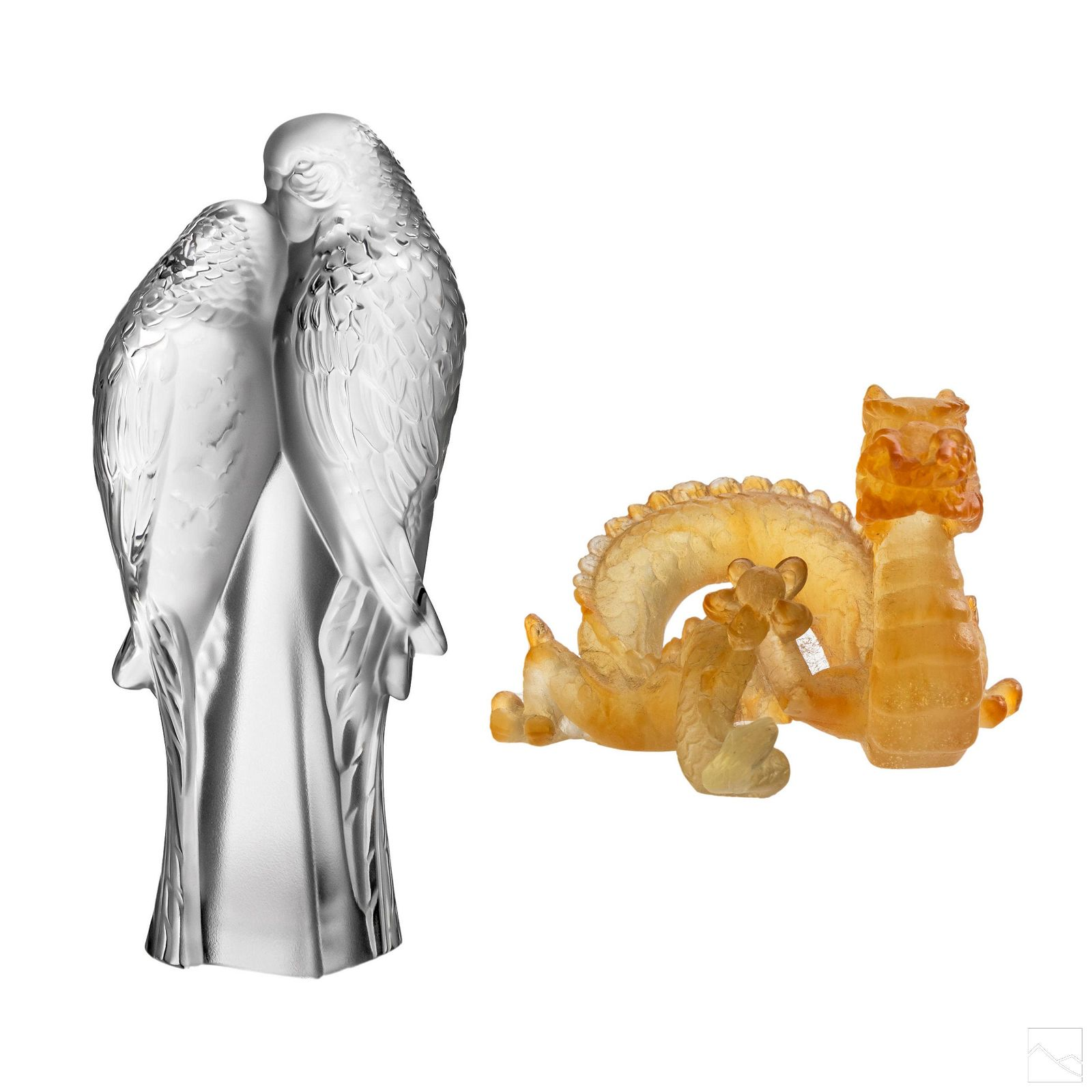 Lalique Dragon and Daum Parrot Crystal Figurines