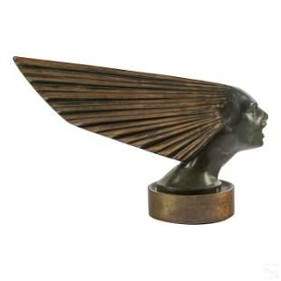 R Lalique Art Deco Bronze Victoire Car Hood Mascot
