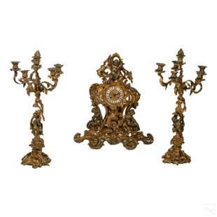 French 19th Cen Antique Bronze Clock & Candelabras