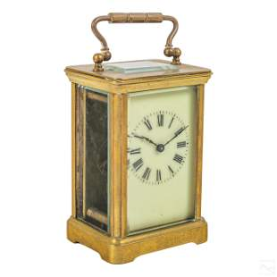 French Brass & Glass Vintage Cased Carriage Clock