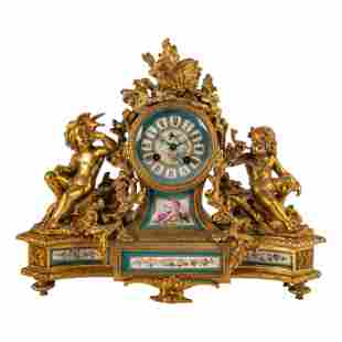 "French 15"" Gilt Bronze Antique Cherub Mantel Clock"