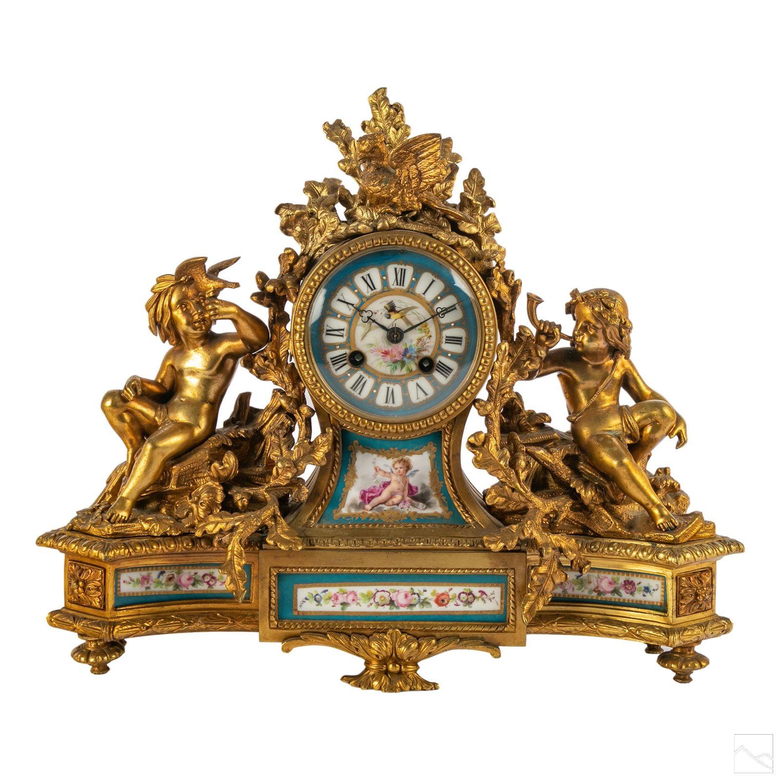 "French 15"" Gilt Bronze Antique Cherub Mantel Clock"