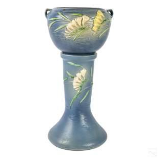 Roseville Blue Freesia Jardiniere & Pedestal #669-8