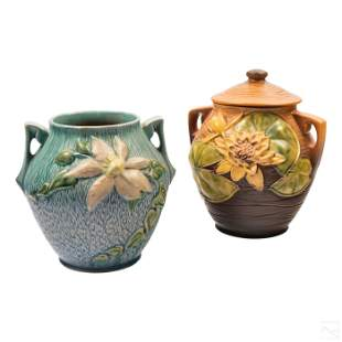 Roseville Art Pottery Water Lily and Clematis Jars