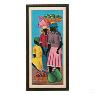 Obes Faustin b.1956 Haitian Folk Art Oil Painting