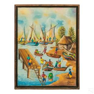 Jn Claude Louis Haitian Folk Art Seascape Painting
