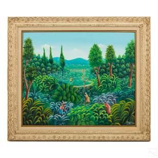 J. Saint Fleur Haitian Folk Art Landscape Painting