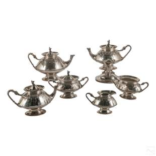 Gorham Sterling Silver Egyptian 6pc Tea Set 4125g