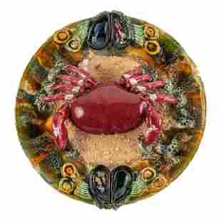 Majolica Crab and Shell Fish Vintage Charger Plate