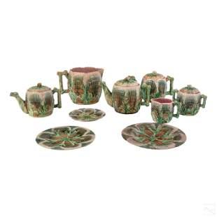 Etruscan Glazed Seashell & Floral Majolica Service