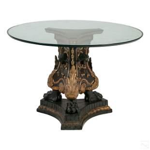 Neoclassical Glass Top Figural Bronze Rococo Table