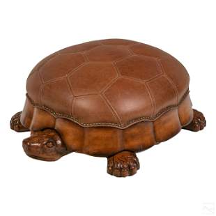 Turtle Form Modern Carved Wood and Leather Ottoman