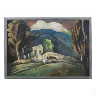 Bela Kadar (1877-1956) Gouache Landscape Painting