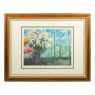 Modern Art Framed Floral Litho after Marc Chagall