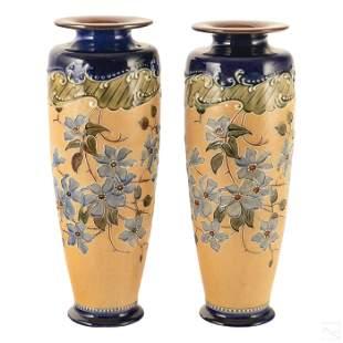 Royal Doulton Slater's Patent Stoneware Vases Pair