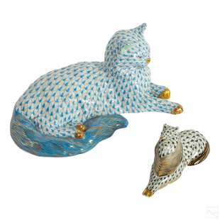 Herend Hungarian Porcelain Dog and Cat Figurines