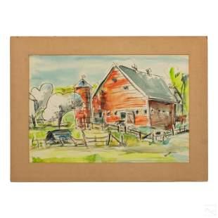Franklin T. Wood (1887-1945) Landscape WC Painting