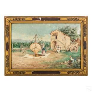 Italian Antique WC Rustic Farm Landscape Painting