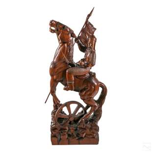 """Chinese 59"""" Carved Wood Warrior & Horse Sculpture"""