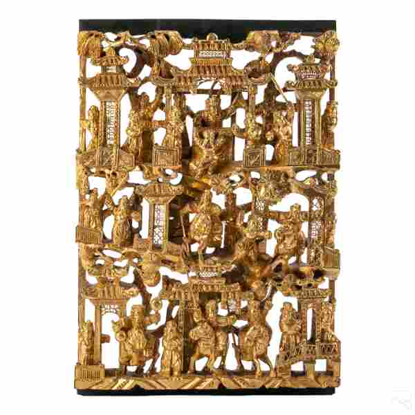 Chinese High Relief Carved Wood Gold Gilt Panel