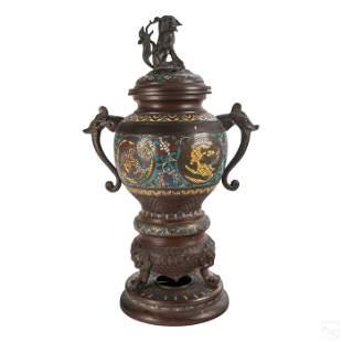 Chinese Bronzed Cloisonne Foo Dog Incense Burner